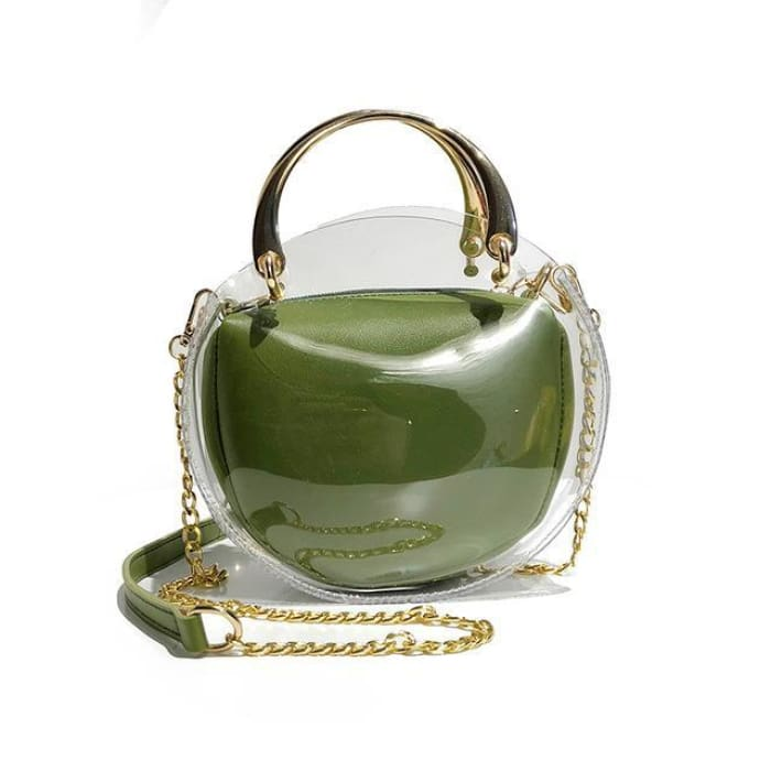 Unique Transparent Bag-in-Bag Set - Green - Handbag Footsylicious