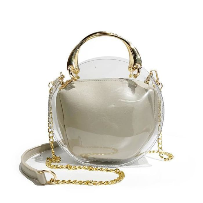 Unique Transparent Bag-in-Bag Set - White - Handbag Footsylicious