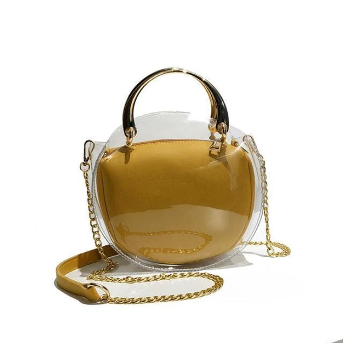 Unique Transparent Bag-in-Bag Set - Yellow - Handbag Footsylicious