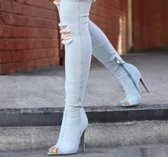 blue washout denim thigh high boots