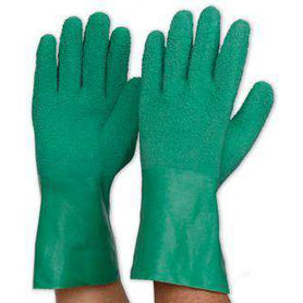 Prochoice Green Latex Rubber Gauntlet Interlock Gloves Pack of 12 (1445107630152)