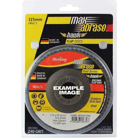 Sheffield Maxabrase 115mm Flap Disc Gold Inox Stainless Carded Single Pack