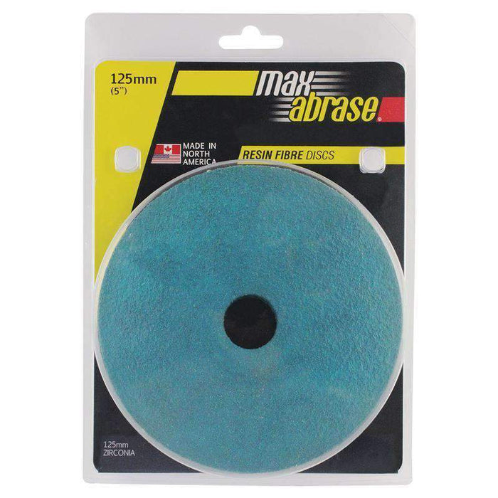 Sheffield Maxabrase 125mm Resin Fibre Disc Zirc. Supreme Carded 5 Pack