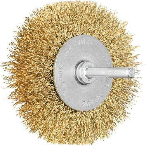 Pferd Shaft Mounted Wheel Brushes Brass Wire Crimped 6Mm Rbu Pack of 10 (1439892537416)