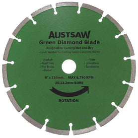 Sheffield Austsaw 230mm(9in) Diamond Blade Green Concrete Carded