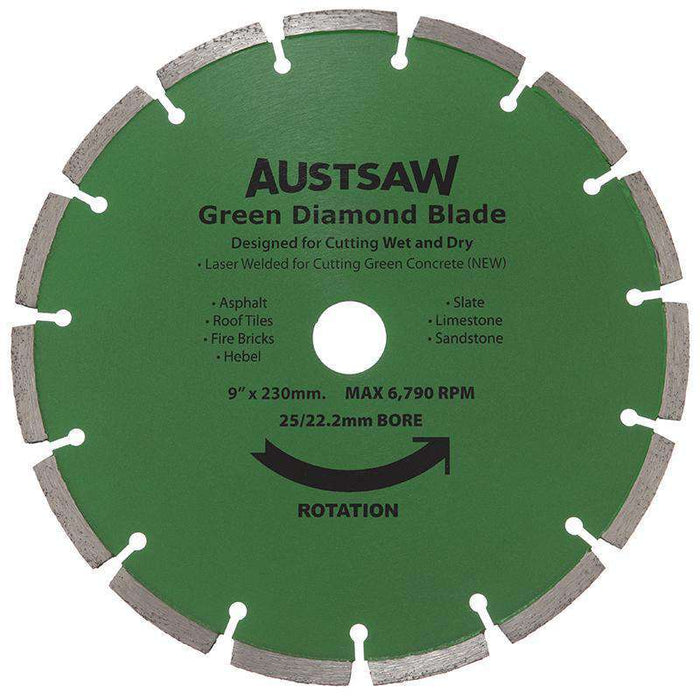 Sheffield Austsaw 230mm(9in) Diamond Blade Green Concrete Carded (1595230486600)