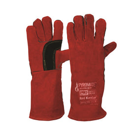 ProChoice Pyromate Red Kevlar Glove Large Cow Split Leather Pack of 6