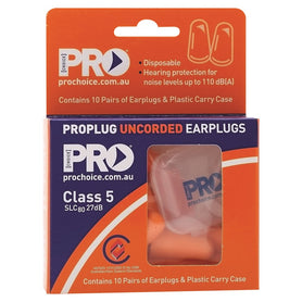 ProChoice Probullet Disposable Uncorded Earplugs 10 Pack Uncorded (1443759685704)