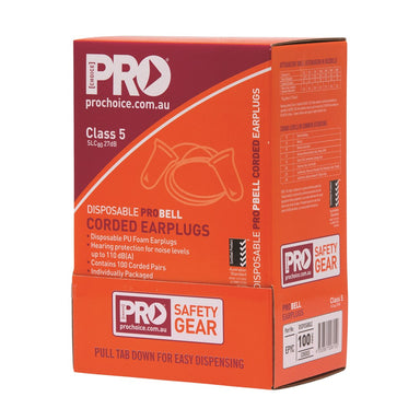 ProChoice Probell Disposable Corded Earplugs Corded Hi Vis Yellow (1443763748936)
