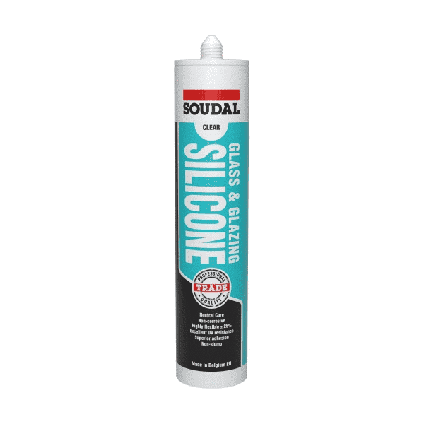 Soudal Glass & Glazing Silicone 300ml Box of 15 - SPF Construction Products
