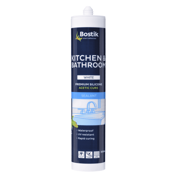 Bostik Kitchen & Bathroom Silicone Acetic Cure 300ml ctg Box of 20 Silicone Sealants Bostik Transparent