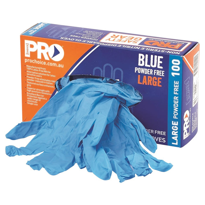 ProChoice Disposable Blue Nitrile Powder Free Gloves Pack of 10 (1444656414792)
