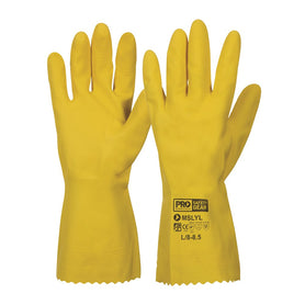 ProChoice Silver lined Latex rubber Gloves Yellow Pack of 12 (1445108285512)