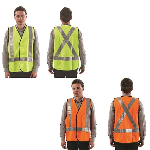 ProChoice Yellow or Orange Fluoro X Back Safety Vest - Day/Night Use