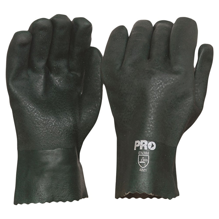 ProChoice 27cm Green Double Dipped Pvc Gloves Large Pack of 12 (1445099339848)