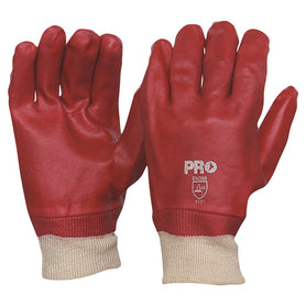 ProChoice 27cm Red Pvc / Knit Wrist Gloves Large One Size Pack of 12 (1444727062600)