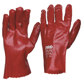 ProChoice 27cm Red Single PVC Gauntlet Gloves Large Pack of 12 (1444723851336)