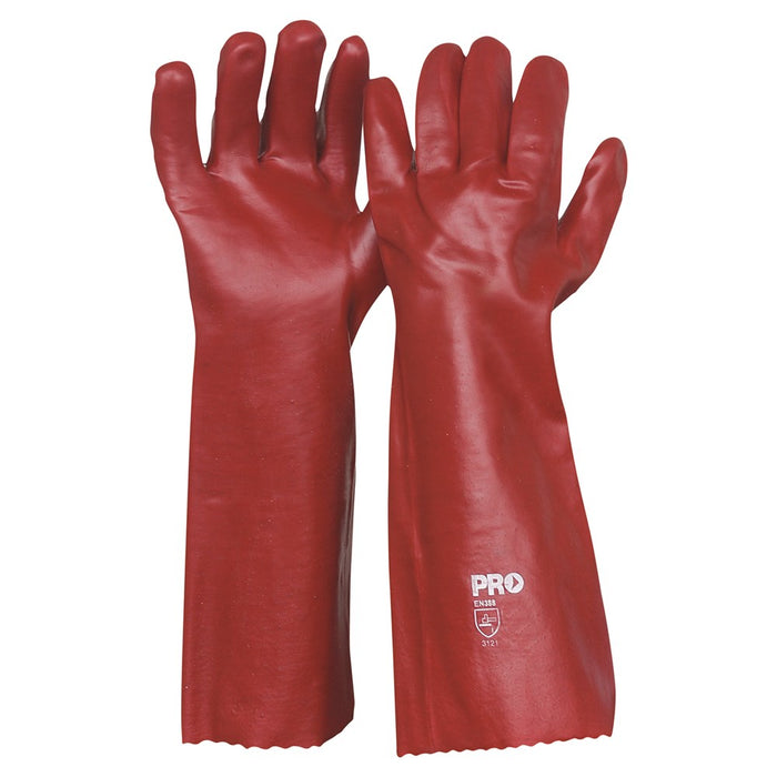 ProChoice 45cm Red PVC Cotton Interlock Lining Gloves Large Pack of 12 (1444727816264)