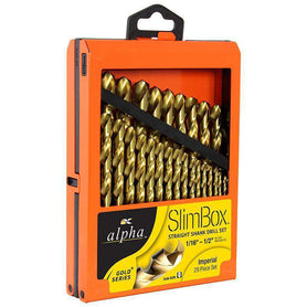 Sheffield Alpha 29 Piece Imperial Slimbox Gold Series Jobber Drill Sets (1590180511816)