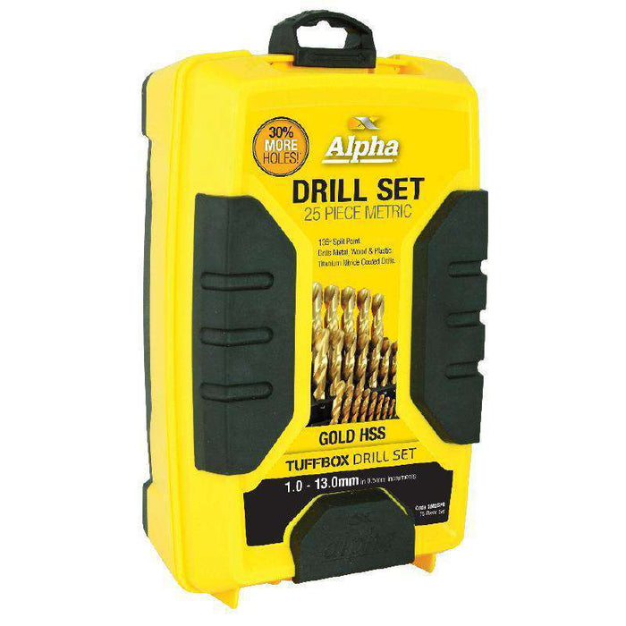 Sheffield Alpha 25 Piece Metric Gold Series Tuffbox Jobber Drill Set (1589828878408)