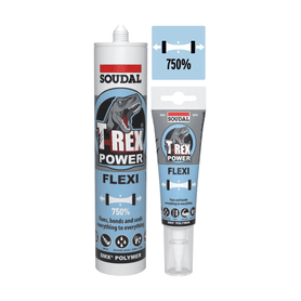Soudal T-Rex Power Flexi White 125ml Box of 12 Tiling Adhesive Soudal