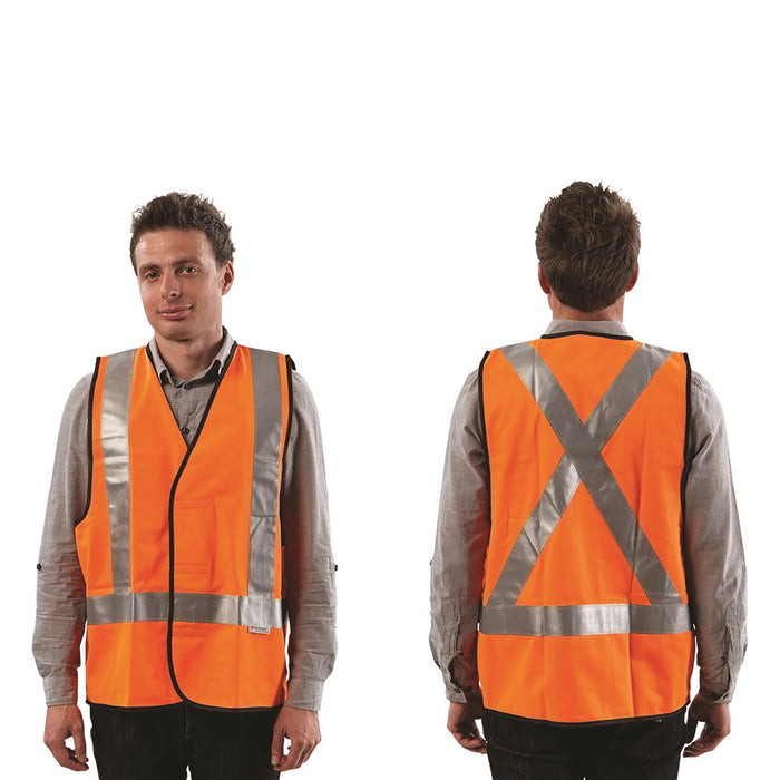 ProChoice Yellow or Orange Fluoro X Back Safety Vest - Day/Night Use (1605309825096)
