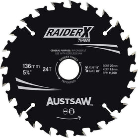 Sheffield Austsaw RaiderX Timber Blade 136mm x 20/16 Bore Carded 36