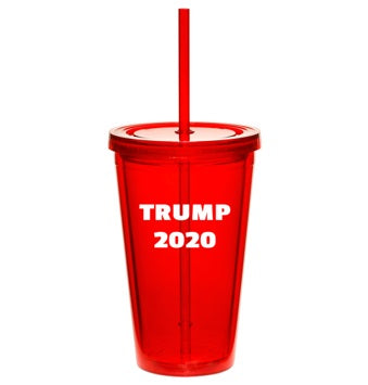 Trump 2020 Red Tumbler with Straw