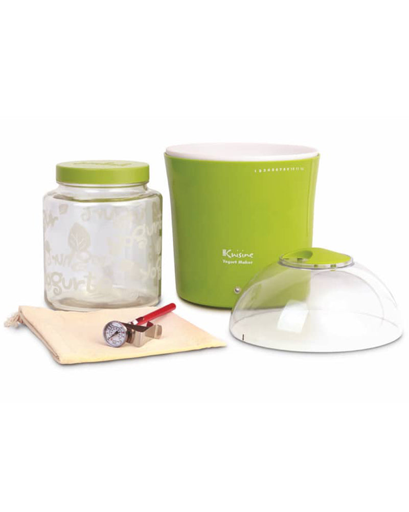Euro Cuisine YM360 Yogurt & Greek Yogurt Maker - With 2qts Glass Jar - Green