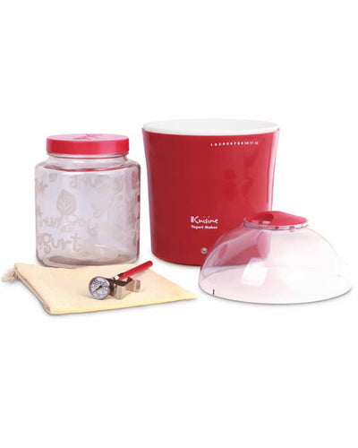 Euro Cuisine YM460 Yogurt & Greek Yogurt Maker - With 2qts Glass Jar - Red