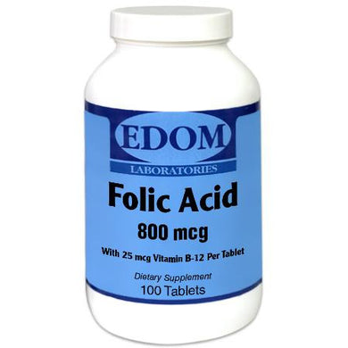 Folic Acid 800 mcg Tablets - Supports cardiovascular and nervous system health. Folic Acid is also essential for prenatal health.