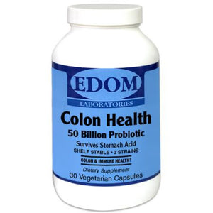 Colon Health 50 Billion Probiotic. Each ultra high probiotic capsule contains a minimum of 50 billion CFU‡ per serving. This two strain proprietary blend supports and nurtures good colon microflora for a healthy digestive system.