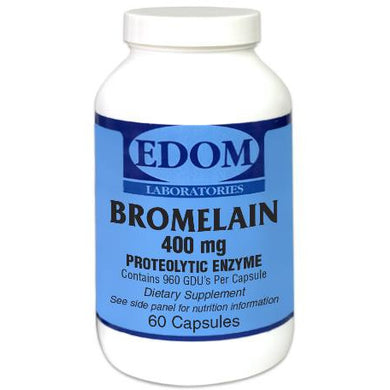 Bromelain Proteolytic Enzyme 400 mg Capsules. This enzyme is an anti-inflammatory agent that is helpful in healing minor injuries, particularly sprains, strains and muscle injuries. Bromelain also aids in digestion. Bromelain helps digest protein in the gastrointestinal tract.