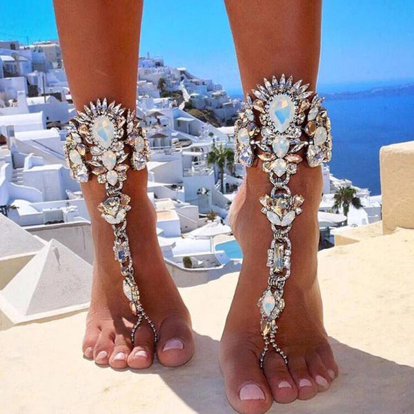 Boho Crystal Anklet Australia Beach clothing Vacation Ankle Bracelet Sandals Sexy Leg Chain Female Statement Asteria Lyra Foot Jewelry