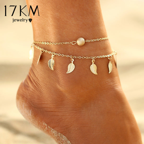 Summer Beach 2 Color Double Leaves Pendant Anklet Foot Chain Bohemian Handmade Beads Anklets Foot Gothic Boho Jewelry