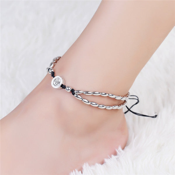 Vintage Bracelet Foot Jewelry Retro Anklet For Women Girls Ankle Leg Chain Charm Starfish Beads Bracelet Fashion clothing Beach Jewelry