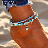 17KM Vintage Shell Beads Starfish Anklets For Women New Multi Layer Anklet Leg Bracelet Handmade Bohemian Jewelry Sandals Gift
