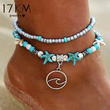 Bohemian Wave Anklets For Women Vintage Multi Layer Bead Anklet Leg Bracelet Sandals Boho DIY Summer Charm Jewelry