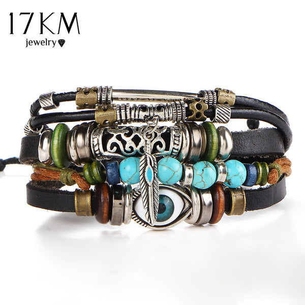 17KM Punk Design clothing Turkish Eye Bracelets For Men Woman New Fashion Wristband Female Owl Leather Bracelet Stone Vintage Jewelry