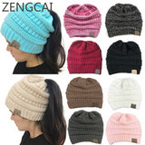 CC Ponytail Beanie Hat Women Crochet Knit Cap Winter Skullies Beanies Warm