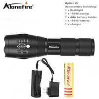AloneFire G700 E17 XM-L T6 Aluminum Waterproof Zoomable Cree Led Flashlight Torch Tactical light AAA 18650 Rechargeable Battery