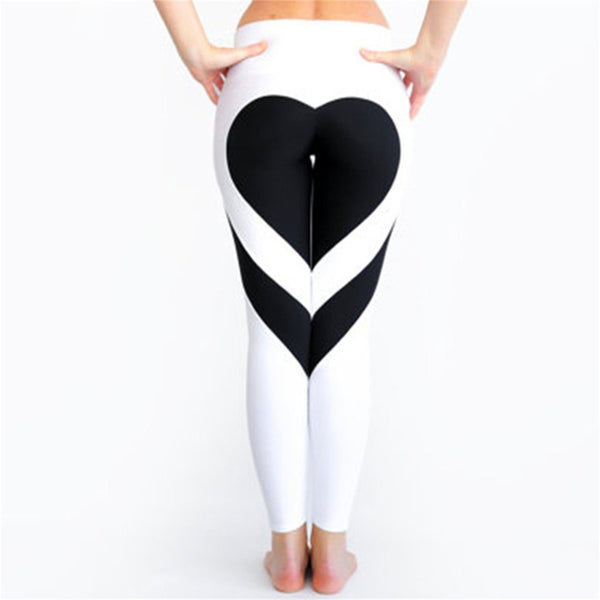 Hot! Heart Shape Leggings Women New  Highasticity Fitness Leggings S-XL