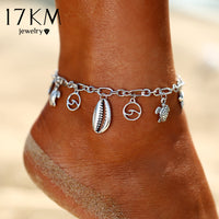 Boho Wave Turtle Pendant Anklets For Women 2018 Shell Anklet Bracelets On The Leg Bohemian Foot Ocean Jewelry Drop Shipping