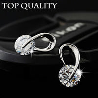 17KM Austria Crystal Wedding pendientes mujer Silver Color Zircon Crystal Stud Earrings Fashion Jewelry for Women brincos