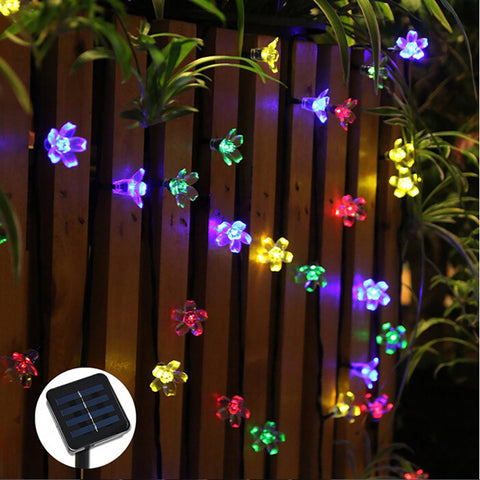 outdoor christmas decorations sakura flower solar led christmas lights