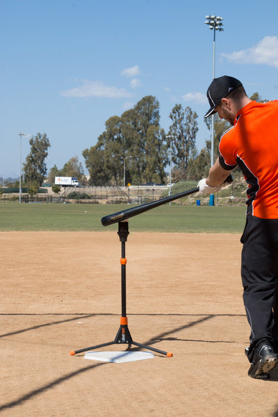 Easily fits over home plate for a blanced, even, hitting plane.