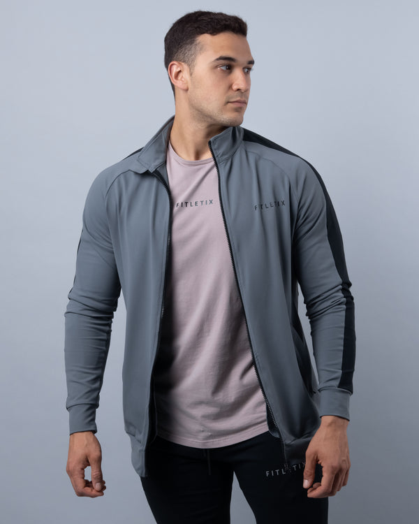 LUXE Track Jacket - Grey/Black Striped