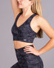 LUXE Camo Sports Bra - Black/Grey
