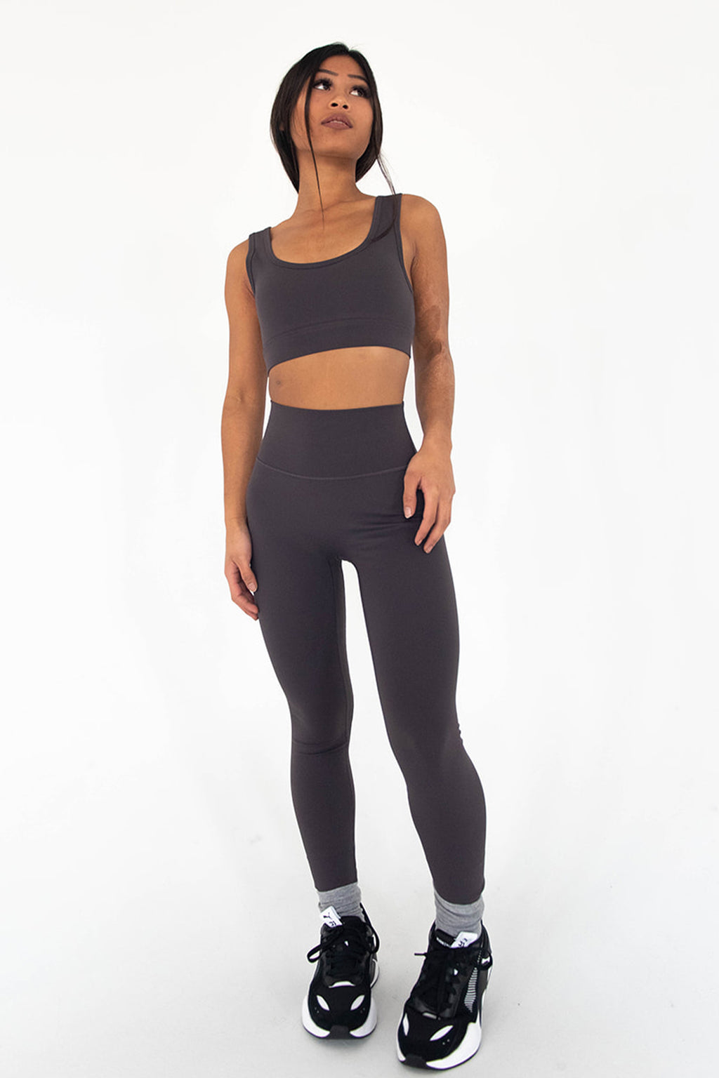 HIGH WAISTED LEGGINGS - SMOKE