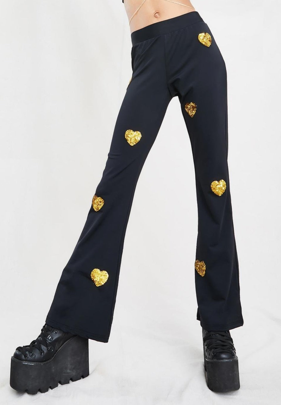 Sequin Gold Heart Flares